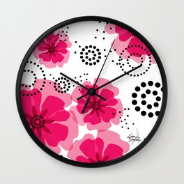 PEPPER POPPIES | fuschia Wall Clock