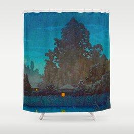 Vintage Japanese Woodblock Print Japanese Farm Village Tall Trees And Pond Shower Curtain