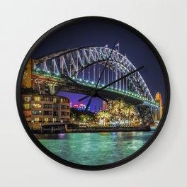 Sydney Harbor Bridge at Night Wall Clock