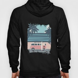 Surfer Graphic Beach Palm-Tree Camper-Van Art Hoody