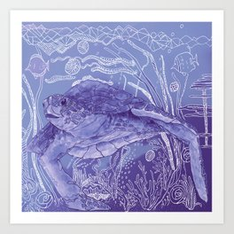 Periwinkle Turtle Art Print