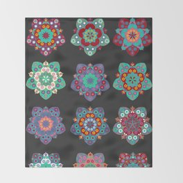 Boho Floral Mandalas on Black Throw Blanket