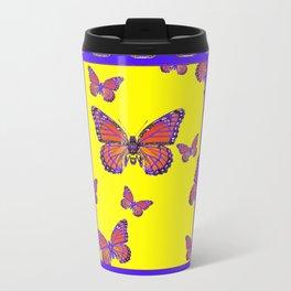 Coffee Brown Monarch Butterflies Yellow-Purple Art Travel Mug