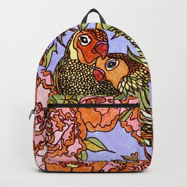 Lovebirds With Peony Wreath Backpack