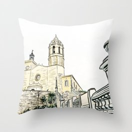 Stairs to the Beach from a medieval Church in Sitges near Barcelona Throw Pillow