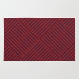 Criss Cross Blue Weave on Red Rug