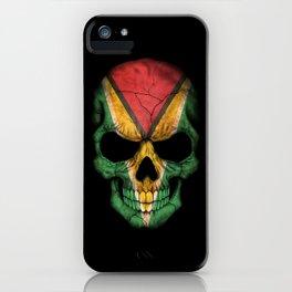 Dark Skull with Flag of Guyana iPhone Case