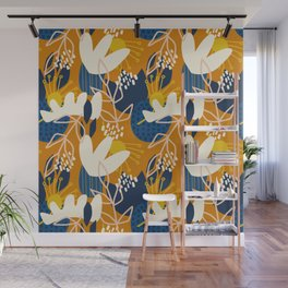 Abstract Floral - Blue + Orange Wall Mural