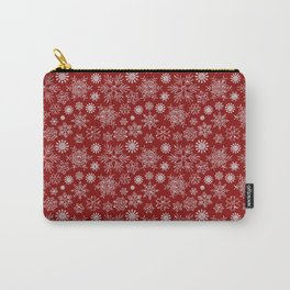 Merry Christmas- Abstract christmas snow star pattern on festive red Carry-All Pouch
