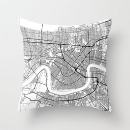 New Orleans Map White Throw Pillow
