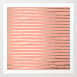 Abstract Stripes Gold Coral Pink Art Print