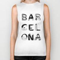 barcelona Biker Tanks featuring Barcelona by Anita Dinamita