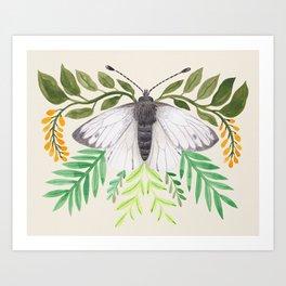 White Butterfly Watercolour Art Print
