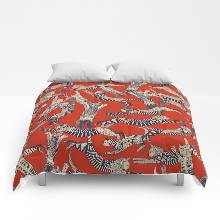 cat party retro Comforters