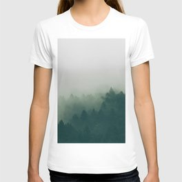 Green Pine Trees Misty Foggy Forest Green Ombre Gradient Minimalist Landscape T-shirt