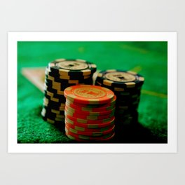 Casino Chips Stacks-Color Art Print