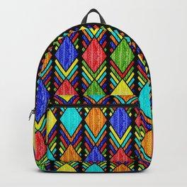 African Beaded Diamonds, Black Backpack