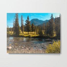 Yellowstone National Park River Hike Landscape Mountains Print Metal Print