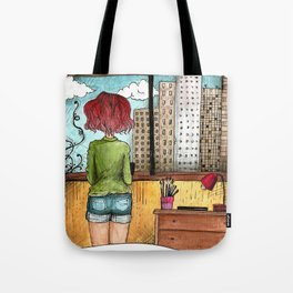 Artist's Room urban view from the window illustration Tote Bag
