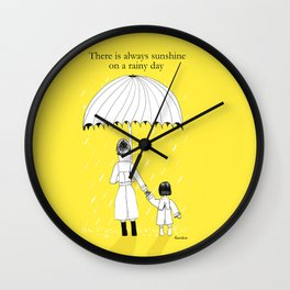 Mother and Daughter in the rain Wall Clock