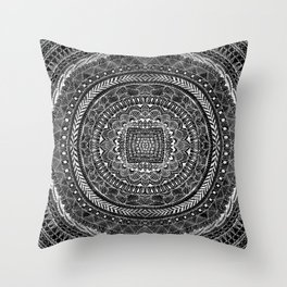 Zentangle Mandala Black and White Throw Pillow