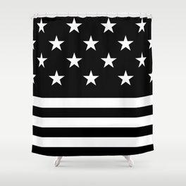 US Flag (Black/White) Shower Curtain