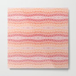 Mosaic Wavy Stripes in Peach and Pinks Metal Print