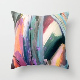 Eye of the Beholder [4]: a colorful, vibrant abstract in purples, blues, orange, pink, and gold Throw Pillow
