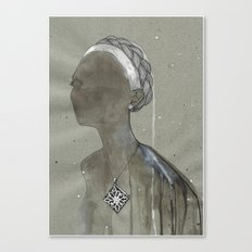 girl with silver diamond oltu stone necklace Canvas Print