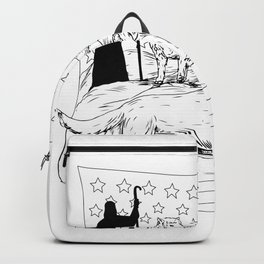 Sheepdog Defend Lamb from Wolf Drawing Backpack