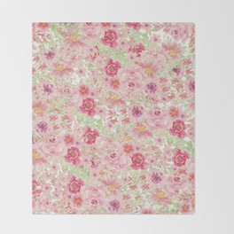 Pastel pink red watercolor hand painted floral Throw Blanket