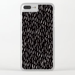 Dark Winter Night - White Strokes Lines on Black - Mix & Match with Simplicity of life Clear iPhone Case