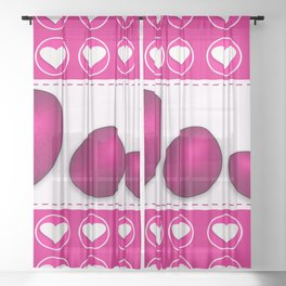 Love celebration easter hearts Sheer Curtain