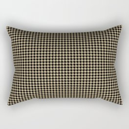 Christmas Gold and Black Houndstooth Check Rectangular Pillow