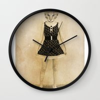 meow Wall Clocks featuring Meow by Delirium