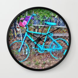 Turquoise Bicycle Wall Clock