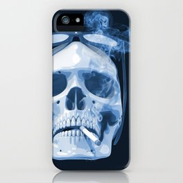 Skull Smoking Cigarette Blue iPhone Case