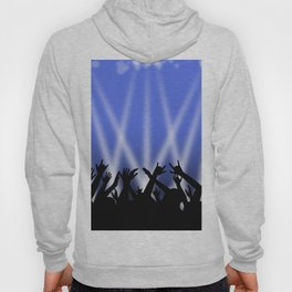 Dancing Crowd With Blue and White Lights Hoody