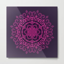 Pink Mandala on Dark Purple Metal Print