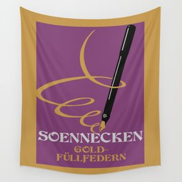 Vintage retro style German Gold Fountain Pen advertising Wall Tapestry