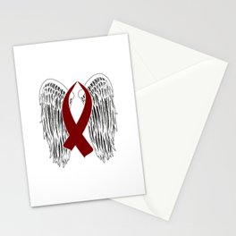 Winged Awareness Ribbon (Burgundy) Stationery Cards