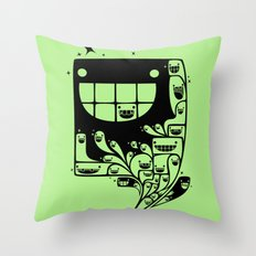 Happy Inside - 1-Bit Oddity - Black Version Throw Pillow
