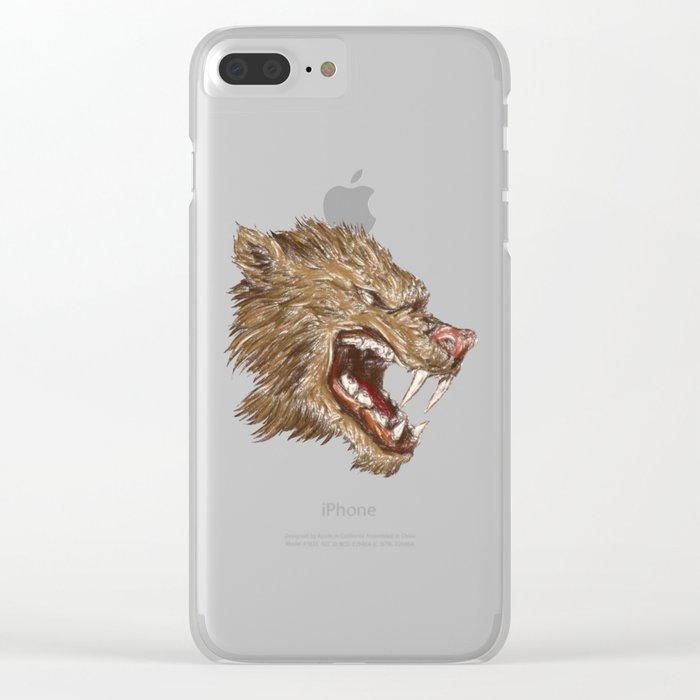 Head with sharp teeth Clear iPhone Case