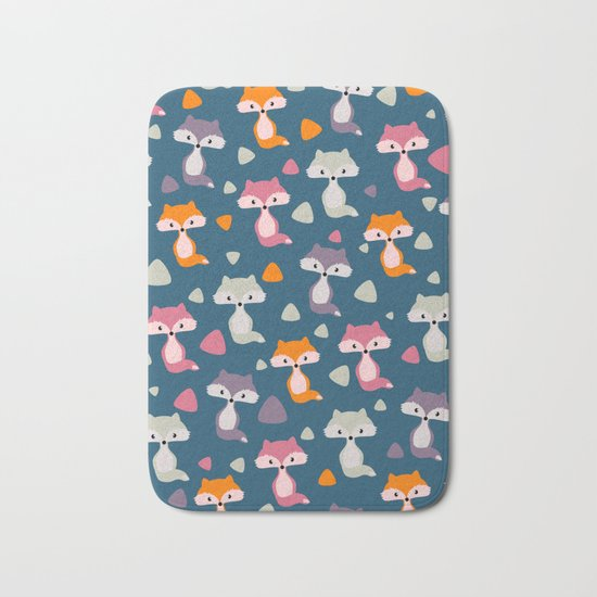 Foxes in many colors Bath Mat