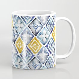 Blue and Gold Tribal Tiles Coffee Mug
