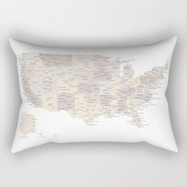 Brown USA map with states and cities Rectangular Pillow