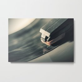 Music From a Vintage 45 RPM Record Playing on a Turntable 2 Metal Print