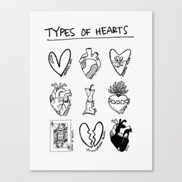 TYPES OF HEARTS Canvas Print