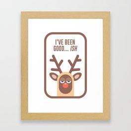Rudolph Red Nose Reindeer Naughty Nice Good Bad List Funny Framed Art Print