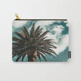 Lush Palm {1 of 2} / Teal Blue Sky Tree Leaves Art Print Carry-All Pouch